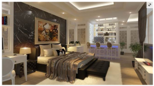 Bedrooms decorated by marble stone