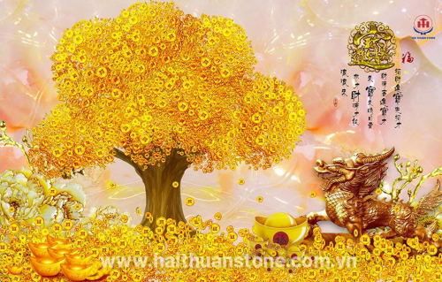 Tranh Đá Phong Thủy Kim Tiền HTS 004