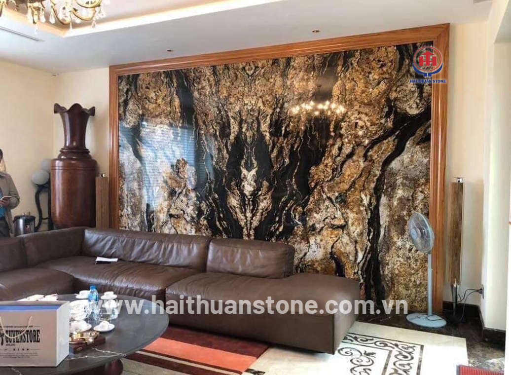 Decorating by natural stone for beautiful living room interior